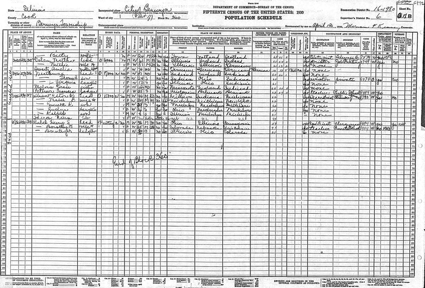 Heinz and Dorothy Rubel in 1930 Berwyn, Illinois Census
