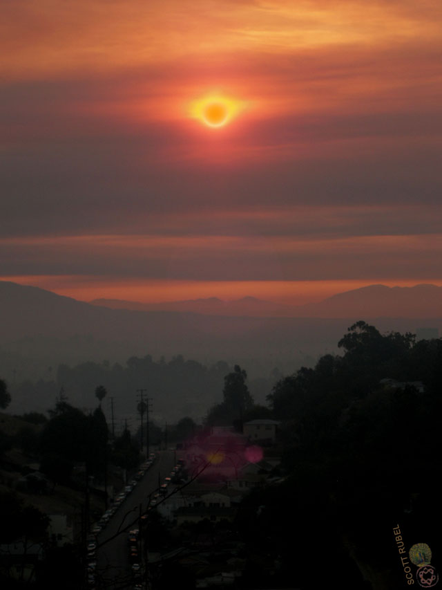 Sunrise over Montecito Heights on the day of the Station Fire.